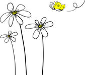 Daisy and Butterfly — Vector de stock