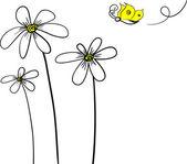 デイジーと蝶 — ストックベクタ
