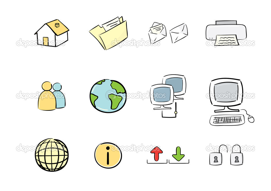 Vector hand drawn icon set : computer & web — Stock Vector #2105333