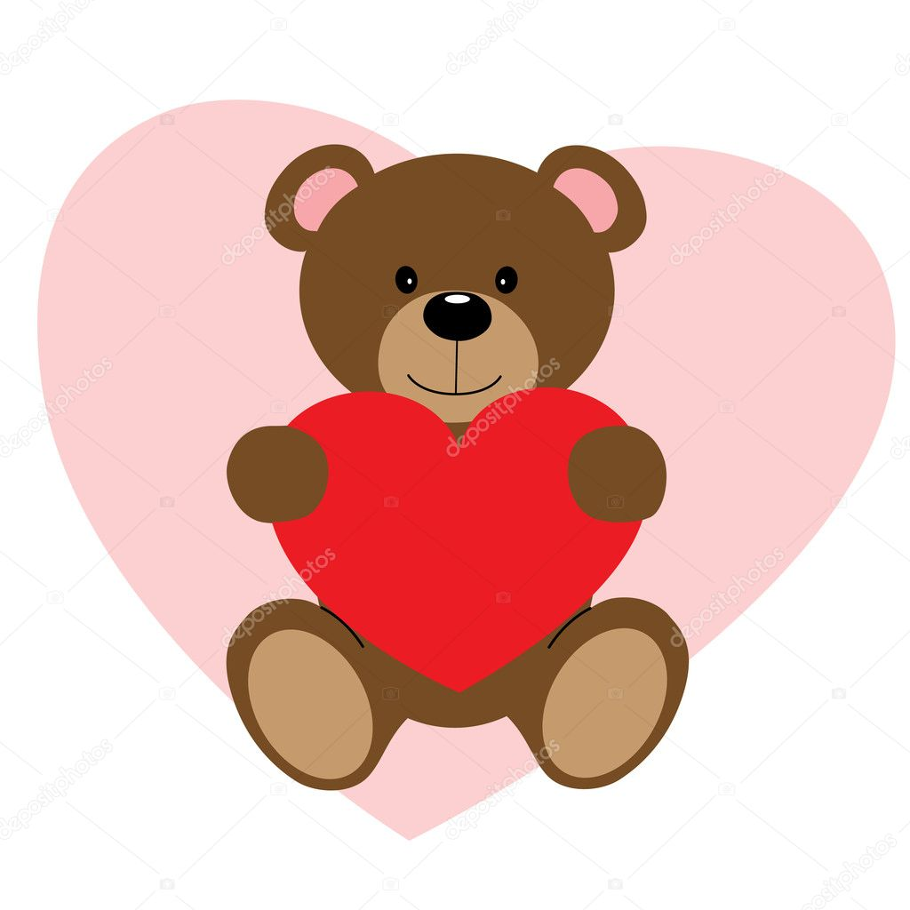 Cute vector teddy bear holding red heart  Stock Vector #2105672