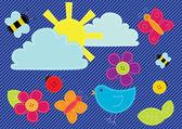 Vektor sydde våren knappar och element — Stockvektor