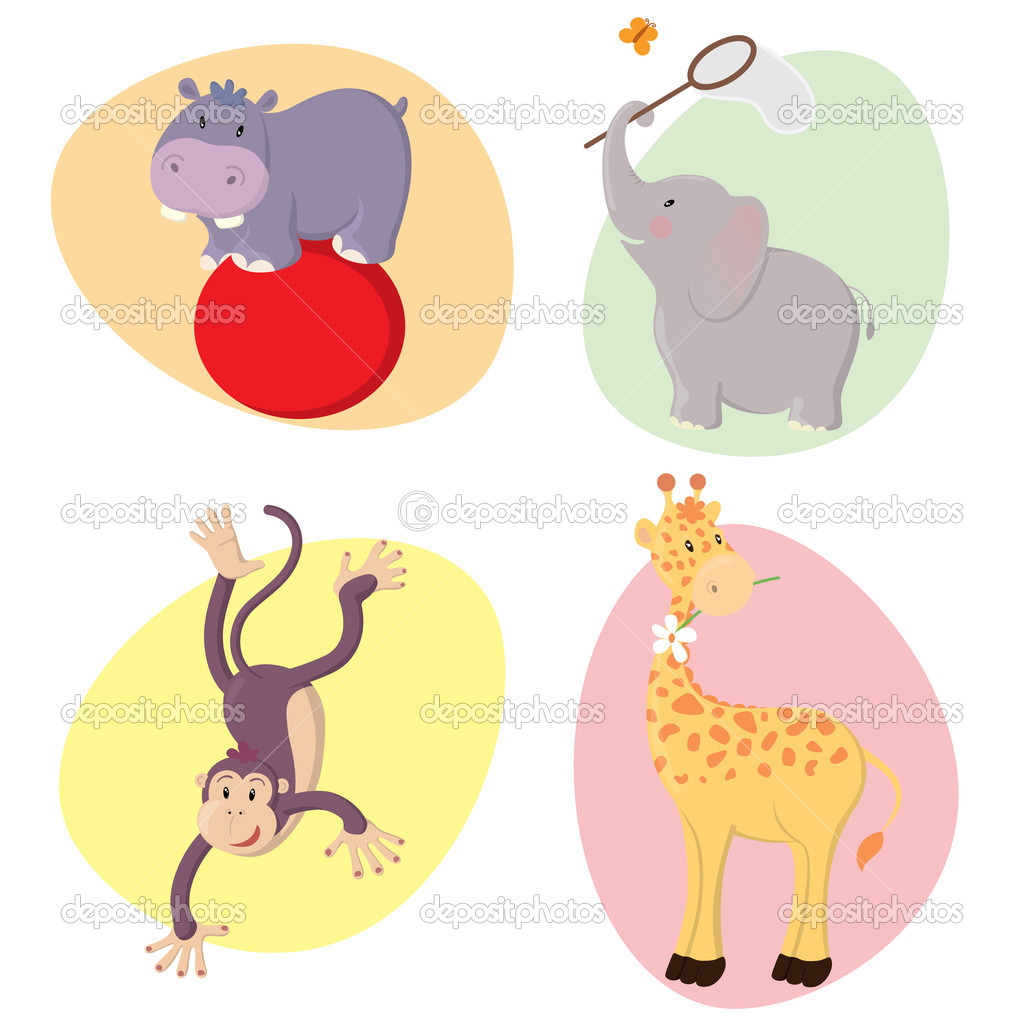 Set of cute happy vector jungle animals : hippo, elephant, monkey, giraffe.  Stock Vector #2386055