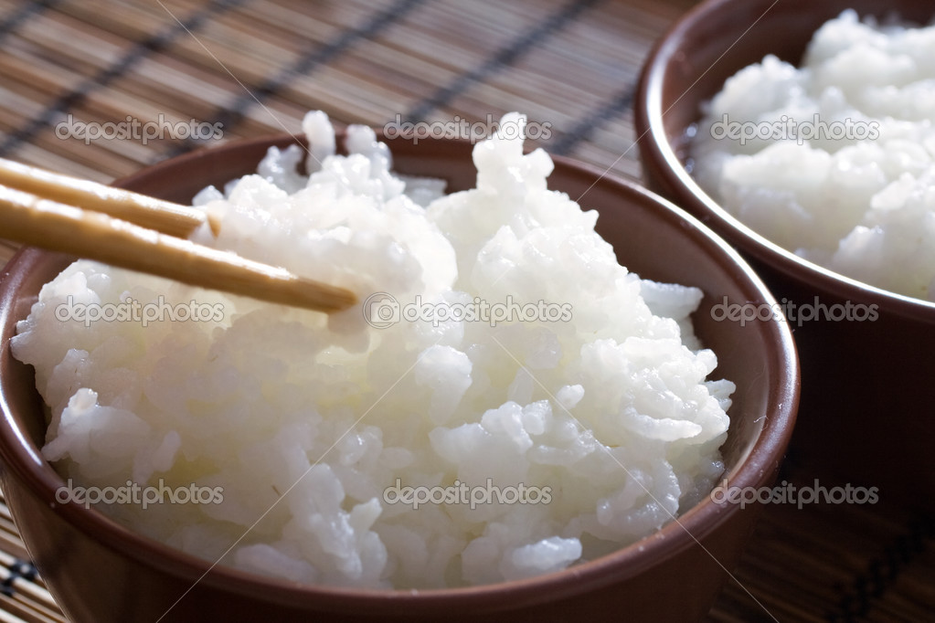Delicious and healthy steamed white thai rice.  Stock Photo #2482833