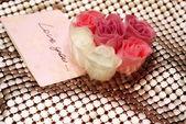 Valentine day rose present — Stock Photo