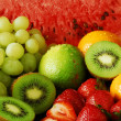 Colorful fresh group of fruits - Stock Photo