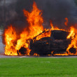 Stock Photo: Car in flames. Advanced stage of fire