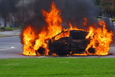 Car in flames. Advanced stage of a fire — Stock Photo