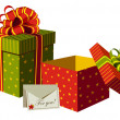 Stock Vector: Christmas gifts boxes