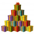 Gift boxes forming a Christmas tree — Stock Vector