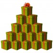 Stock Vector: Gift boxes forming a Christmas tree