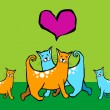 Stock Vector: Cats in love with their offspring.