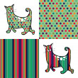 Retro style cats and backgrounds. — Stock Vector