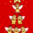Cherubs Christmas Tree — Stock Vector