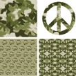 Camouflaged peace patchs — Stock Vector