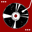 Vinyl disc on red background. — Stock vektor