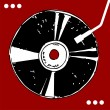 Vinyl disc on red background. - Imagen vectorial