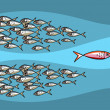 Fish Swimming Against The Tide - Imagen vectorial