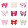 Butterfly set. Pink, red and warm tones. — Vecteur