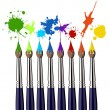 Paint brushes and color splash — Imagens vectoriais em stock