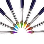 Halbkreis von Pinseln mit Farben — Stockvektor