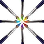 Kreis von Pinseln mit Farben — Stockvektor