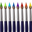 Royalty-Free Stock Vectorielle: Paint brushes with color splash aligned