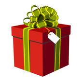 Red gift box, green and golden ribbon — Stock Vector