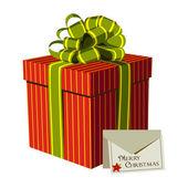 Красная подарочная коробка с поздравительной открытки Рождество — Cтоковый вектор