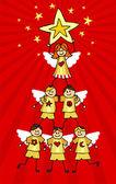 Cherubs Christmas Tree — Stock Vector