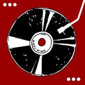 Disque vinyle sur fond rouge. — Vecteur