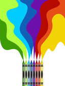 Large colored crayons drawing a rainbow — Stock Vector