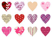 Trendy hearts pattern. Isolated on white — Stock Vector