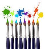 Verf penselen en kleur splash — Stockvector