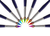 Half Circle of Paint brushes with colors — Stock Vector