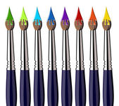 Paint brushes with color splash aligned — Stock Vector