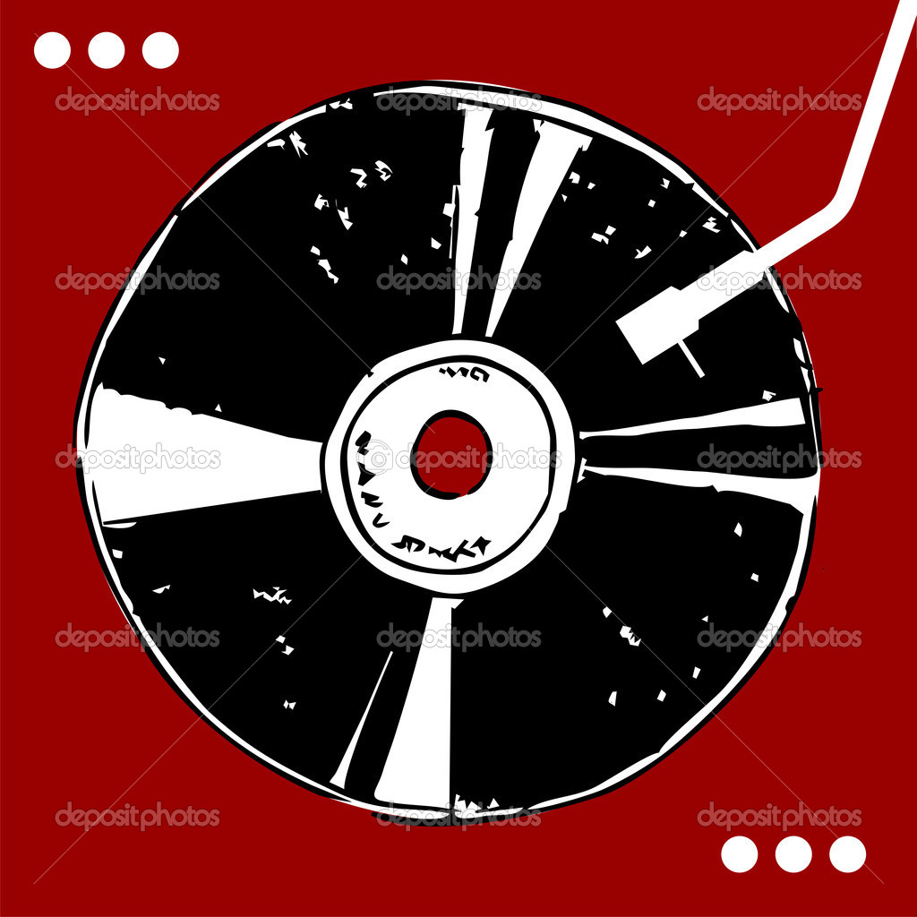 Vinyl disc on red background with white dots. Retro style. Vector available  Image vectorielle #2125508
