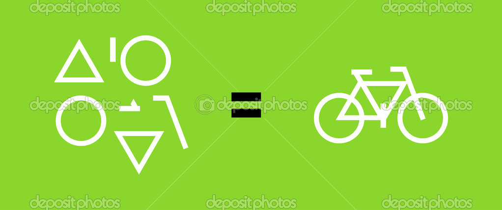 Different geometric shapes, equal sign, a bike. Green background. Vector available — Stock Vector #2126112