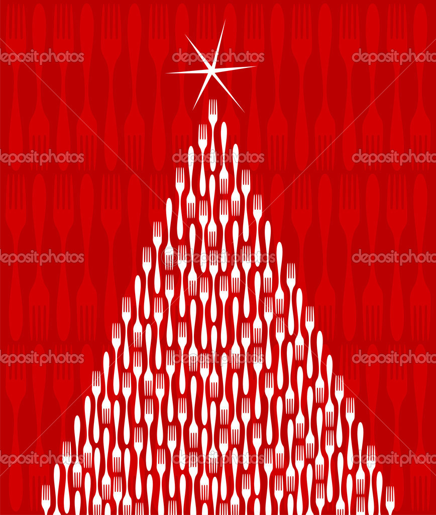 Christmas Tree made of white forks. Shiny star on top. Fork red pattern on the background. Vector file available. — Stock Vector #2127701
