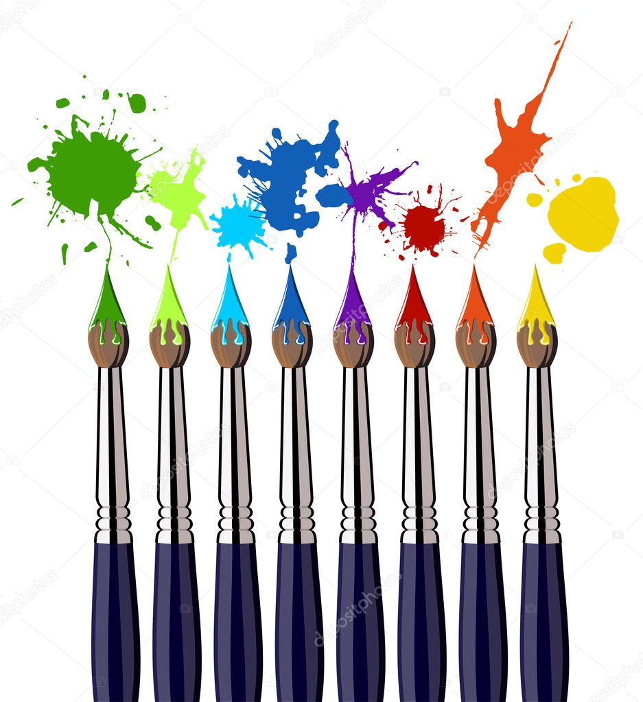 Eight brushes and colorful splattered paint. White background. Vector available — Image vectorielle #2127980
