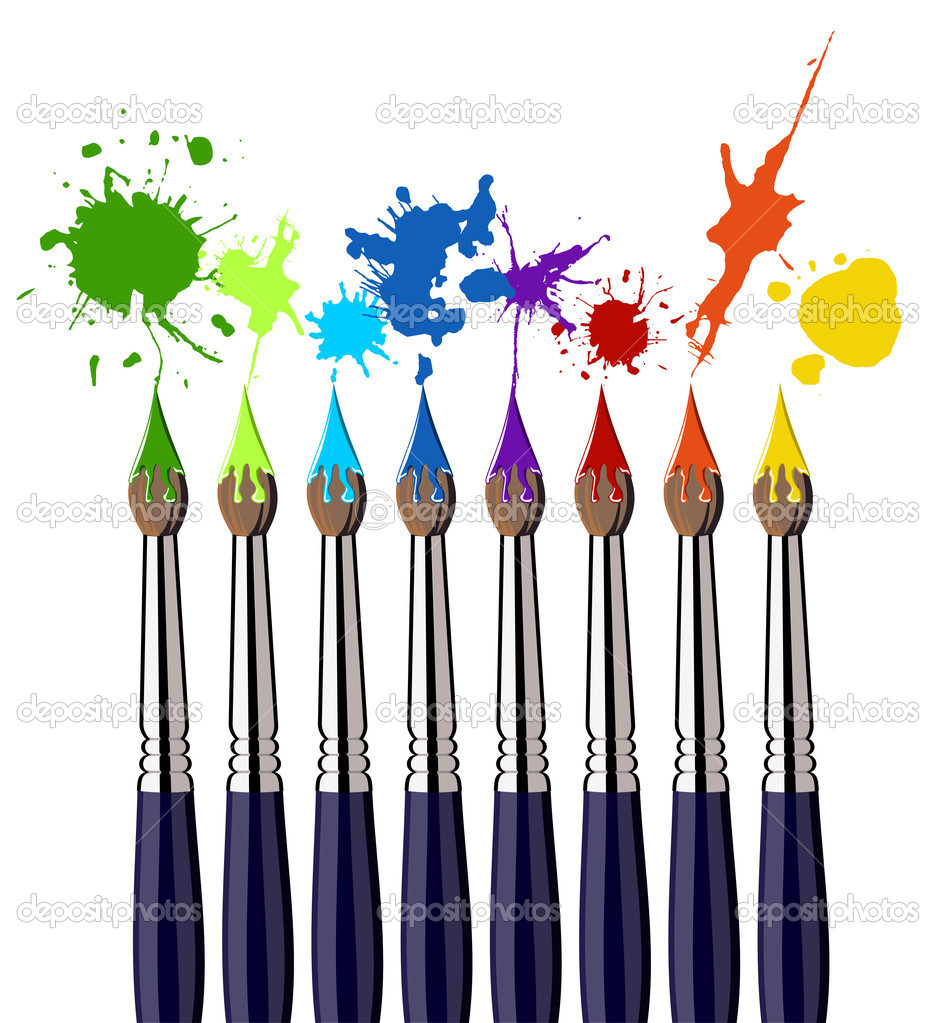 Eight brushes and colorful splattered paint. White background. Vector available — Stok Vektör #2127980
