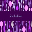 Cutlery pattern invitation on violet — Stock Vector