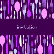 Stock Vector: Cutlery pattern invitation on violet