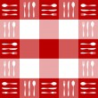 Red tablecloth texture cutlery pattern — Stock Vector