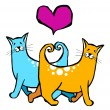 Royalty-Free Stock Vector Image: Couple of cats in love.