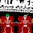 Halloween skeleton couple watching TV - 图库矢量图片