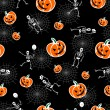 Halloween pumpkins and skeleton - Stockvektor