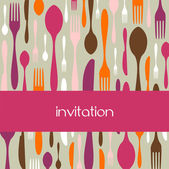 Cutlery pattern invitation — Stock Vector