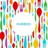 Cutlery colorful pattern invitation — Stock Vector
