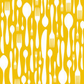 Cutlery pattern on yellow background — Stock Vector