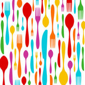 Cutlery colorful pattern on white — Stock Vector